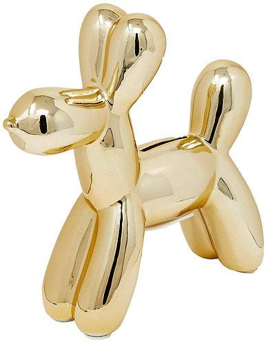 """Gold 7"""" Balloon Dog Bank"""