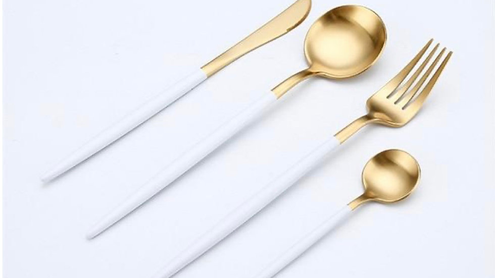 Gold and Matte White Luxury 4 Piece Flatware Set