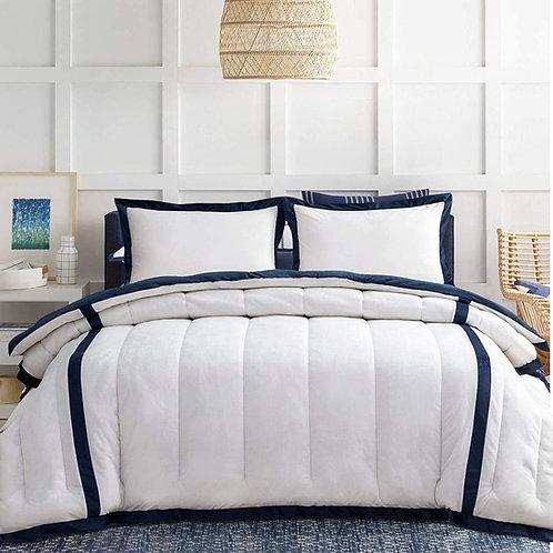 Blue & White Queen Microfiber Goose Down Comforter Set