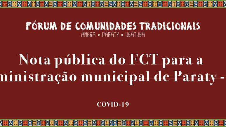 Nota Pública do FCT para a Administração Municipal de Paraty-RJ