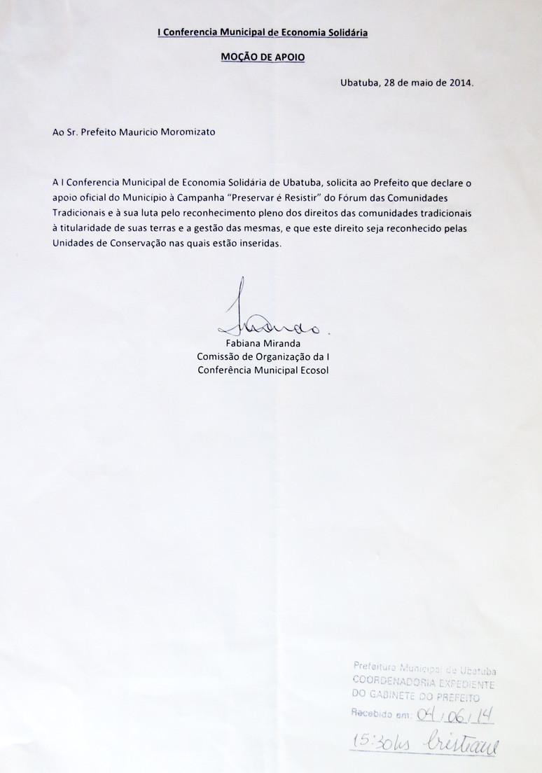 """Prefeito de Ubatuba apresenta Moção de Apoio à campanha """"Preservar é Resistir"""""""