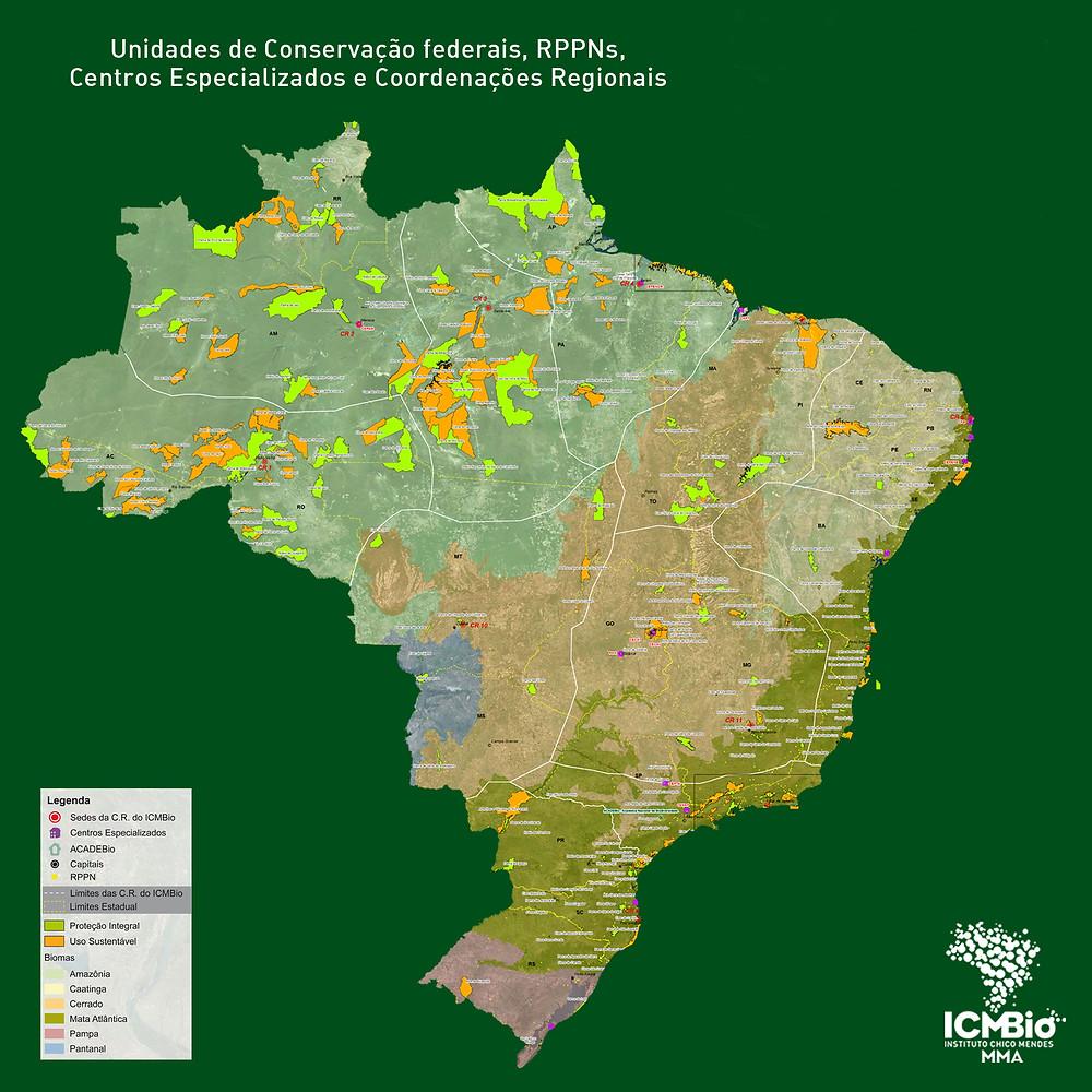 Mapa das Unidades de Conservação