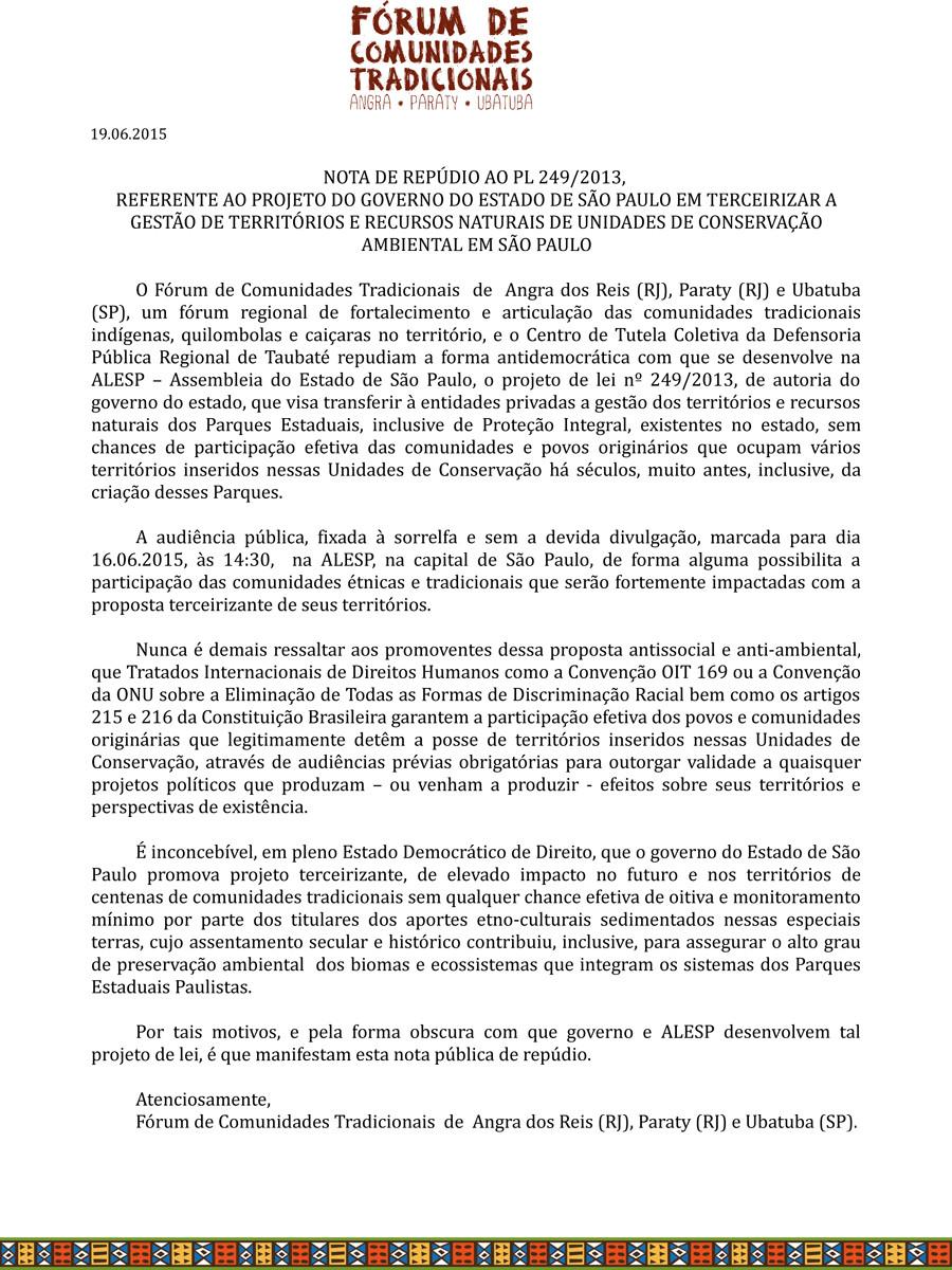 Preservar é Resistir - Contra a privatização das matas paulistas - Nota de Repúdio