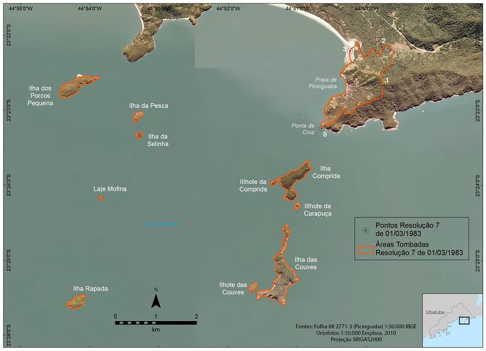 Mapa da região que engloba a Ilha das Couves e a comunidade caiçara da Picinguaba