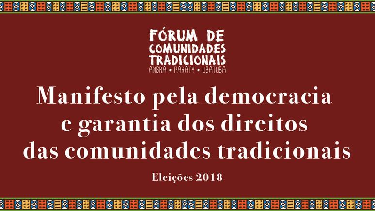 Manifesto pela democracia e garantia dos direitos das comunidades tradicionais