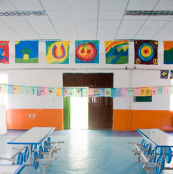 Lunchroom with artwork
