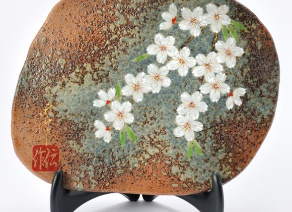窯変 桜 陶板(形いろいろ)
