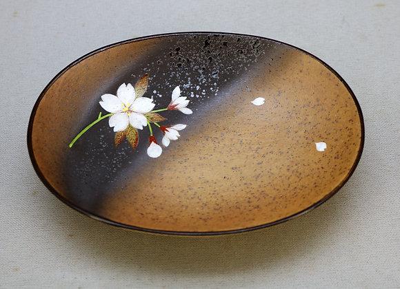 焼きしめ桜絵 楕円皿