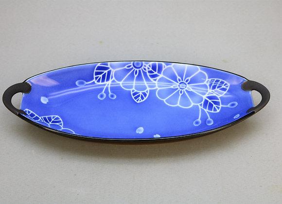 焼きしめ染付花 楕円皿