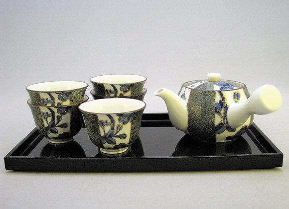 合わせ窯変 染付金彩桜 茶器