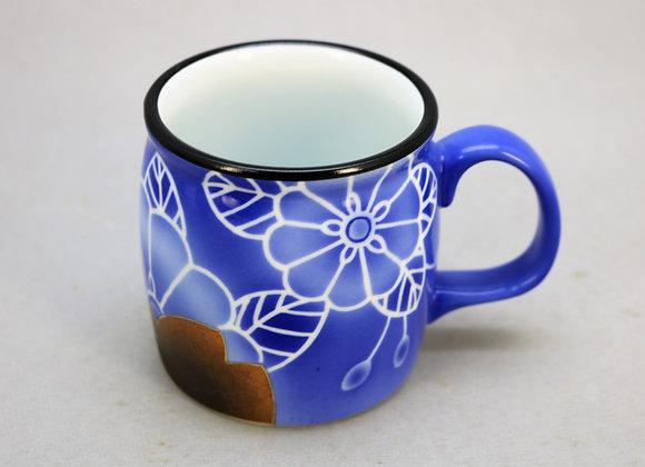 焼きしめ染付花 マグカップ
