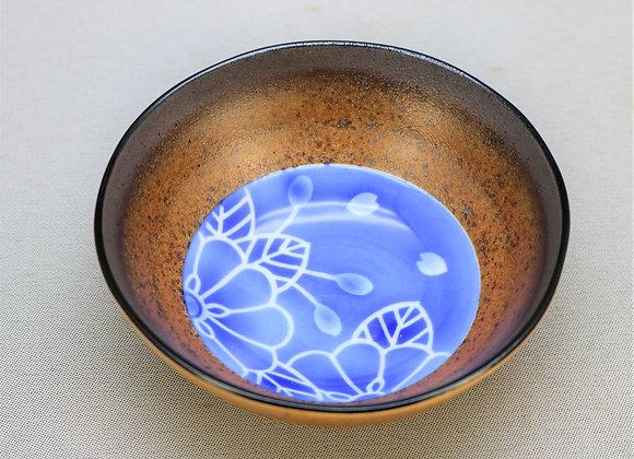 焼きしめ染付花 三足小鉢