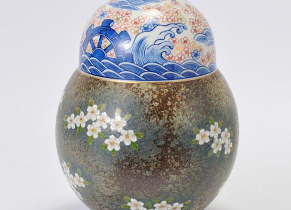 平成鍋島 地紋桜 瓢壺