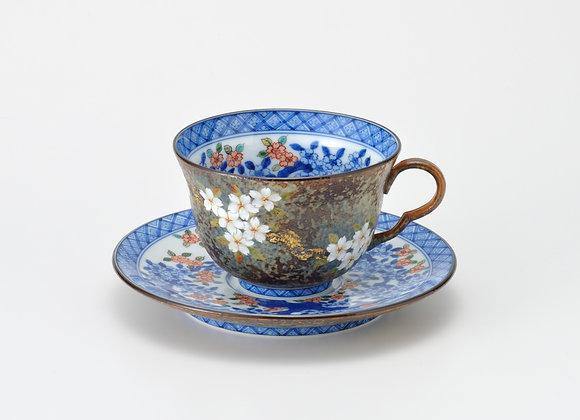 平成鍋島 染濃桜 珈琲碗皿