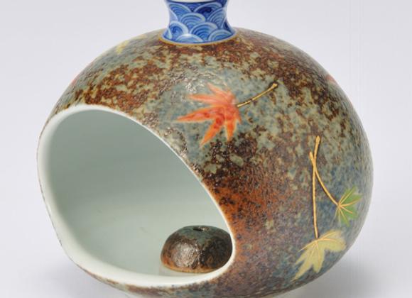 平成鍋島 紅葉 壺型香炉