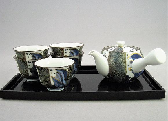 合わせ窯変 染付金彩鯨 茶器