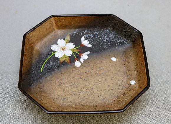 焼きしめ桜絵 角皿