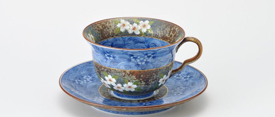 平成鍋島 渦桜 珈琲碗皿