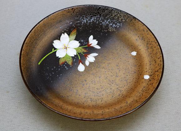 焼きしめ桜絵 段付き銘々皿