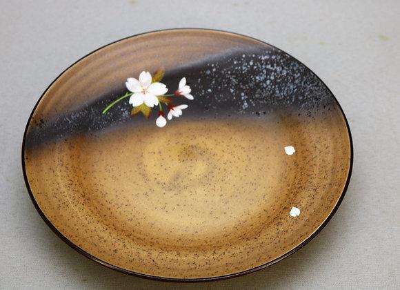 焼きしめ桜絵 七寸皿
