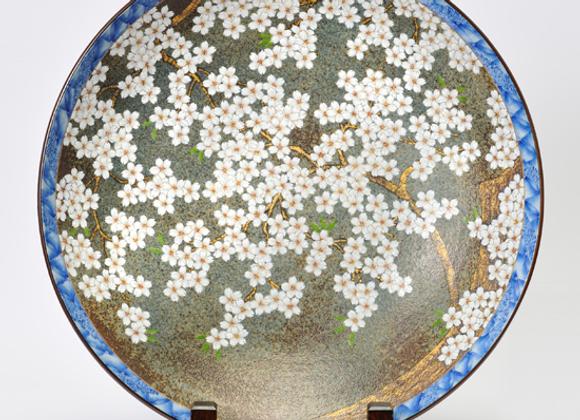 平成鍋島 地紋桜 尺三寸皿