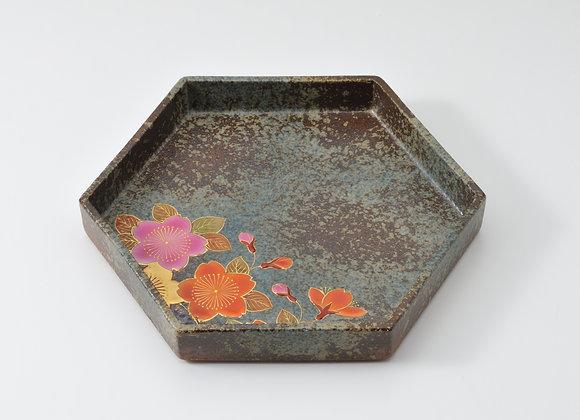 窯変 大輪桜 六角皿