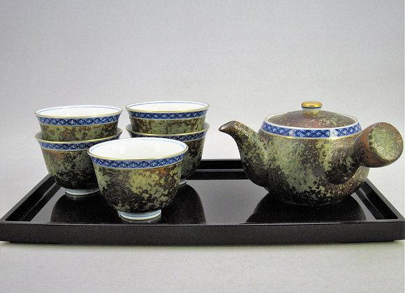 平成鍋島 染付地紋 茶器