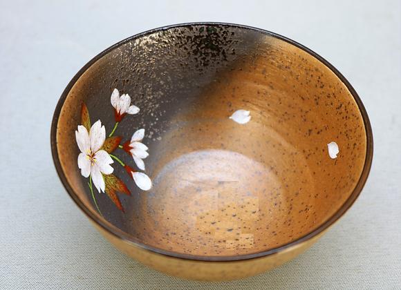 焼きしめ桜絵 飯碗