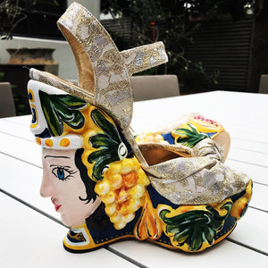 Ceramic wedge 2014 D&G runway Sicilian craftsmanship at their finest