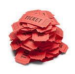 Small Pile of Red Tickets Isolated on Wh