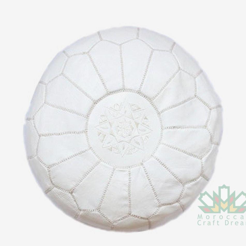 Terrific Stuffed Unstuffed Pouf Ottoman White Rp1Wh Moroccan Craft Dream Short Links Chair Design For Home Short Linksinfo