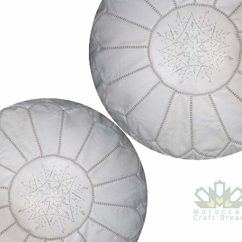 SET OF 2 LUXURY LEATHER POUFS WHITE RP1WH