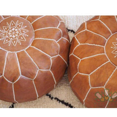 SET OF 2 LUXURY LEATHER POUFS CARAMEL RP1CR