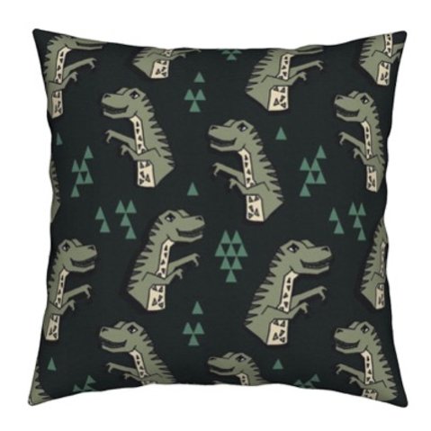 Gray dinosaur cushion