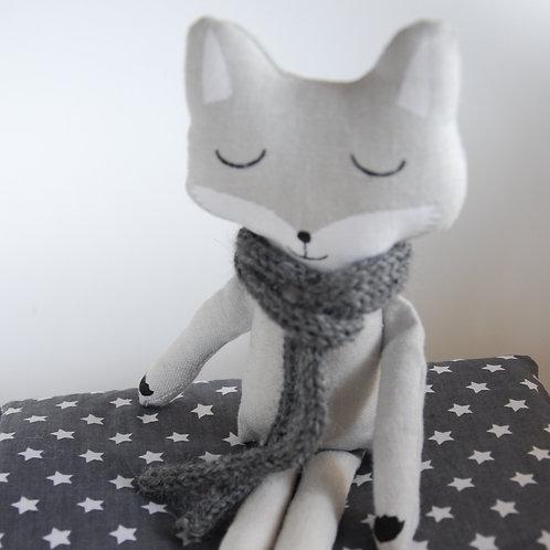 Petit renard en lin gris