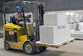 Man in vehicle moving blocks