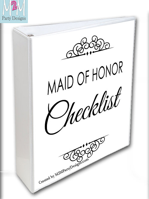 Maid of Honor Printable Checklist and Planner