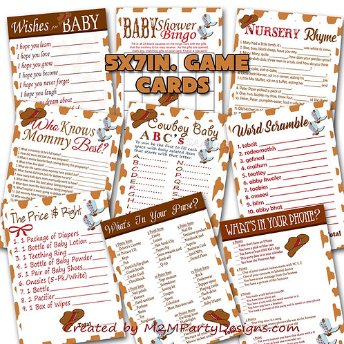 Western Cowboy Baby Shower Games Bundle Set of 9