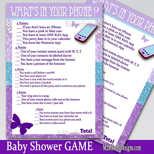 Butterfly Kisses What is on your Phone Baby Shower Game