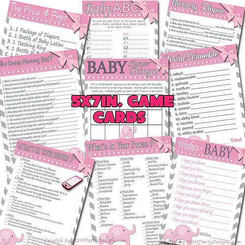 Pink Baby Elephant Baby Shower Game Cards Set of 9 Digital File