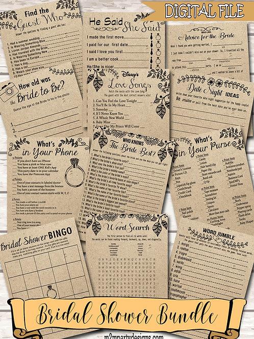 12 Bridal Shower Games Bundle . Games Bundle . Bridal Shower Bundle . Rustic