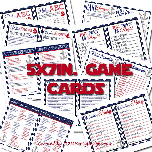 Nautical Chevron Baby Shower Game Cards Bundle Set of 9 Shower Games Navy Blue,