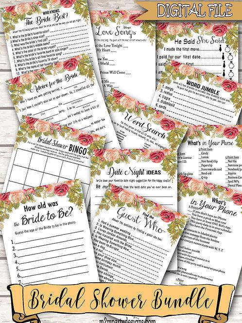 12 Bridal Shower Games Bundle. Games Bundle, Bridal Shower Bundle. Floral Bridal
