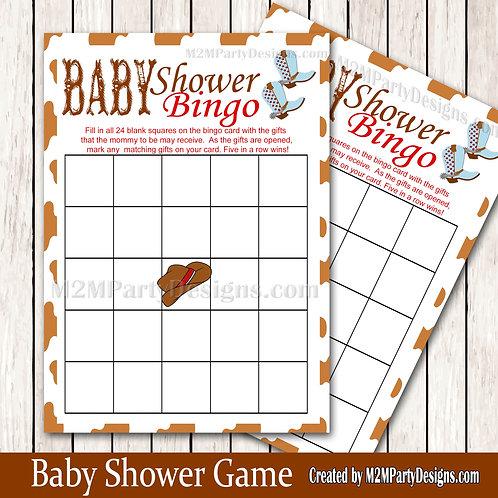 Western Baby Shower Bingo Printable Baby Shower Game Instant Download