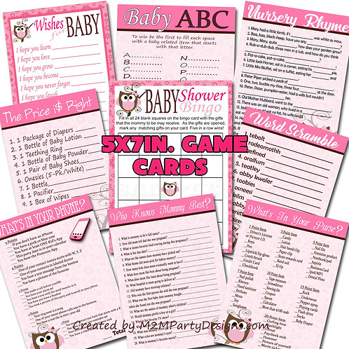 Pink Baby Owl Baby Shower Game Cards Set of 9 Download Games
