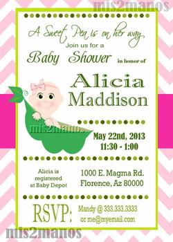Baby Pea Shower Girl Invitation copy
