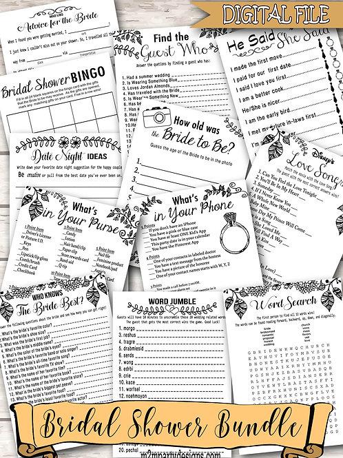 12 Bridal Shower Games Bundle. Games Bundle, Bridal Shower Bundle. Black White B
