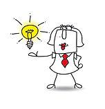 Dessin d'une homme avec une solution sur mesure, apportée sur un plateau : contactez Leadinov !