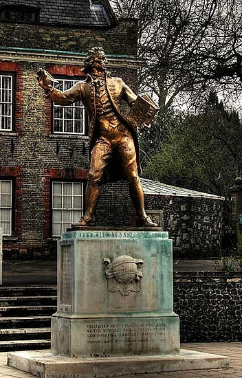 Thomas Paine Statue,  Norfork in Thetford, England