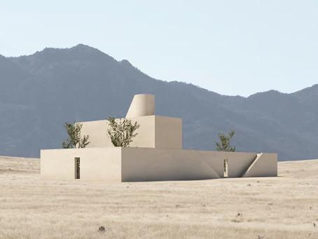 Uma composição de volumes minimalistas ecoa na paisagem do deserto de Marfa
